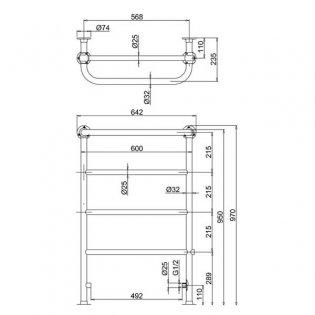 Burlington Berkeley Towel Rail with Valves and Heating Element 950mm H x 640mm W - Chrome