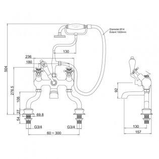 Burlington Birkenhead Regent Angled Bath Shower Mixer Tap, Pillar Mounted, Chrome