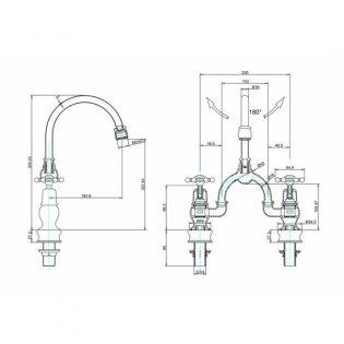 Burlington Birkenhead Regent 2-Hole Arch Basin Mixer Tap Chrome - 200mm Centres