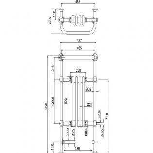 Burlington Bloomsbury Radiator Towel Rail, 950mm High x 500mm Wide, Chrome