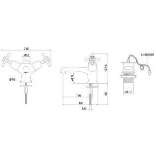 Burlington Claremont Mono Basin Mixer Tap Dual Handle with Plug and Chain Waste - Chrome