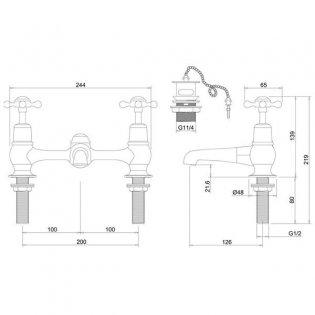 Burlington Claremont Regent 2-Hole Bridge Basin Mixer Tap with Plug and Chain Waste - Chrome