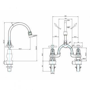 Burlington Claremont Regent 2-Hole Arch Basin Mixer Tap Chrome - 200mm Centres