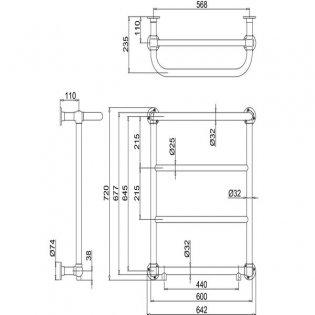 Burlington Cleaver Heated Towel Rail, 720mm High x 640mm Wide, Chrome