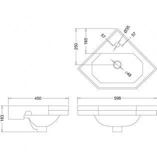 Burlington Corner Wall Hung Cloakroom Basin, 600mm Wide, 1 Tap Hole