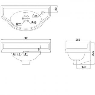 Burlington Curved Wall Hung Cloakroom Basin, 510mm Wide, RH Tap Hole