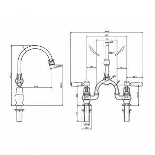Burlington Kensington 2-Hole Arch Basin Mixer Tap, Dual Handle, 200mm Pipe Centres, Chrome