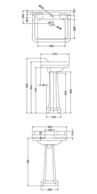 Burlington Medici 1 TH Basin with Full Pedestal 560mm Wide - Ivory