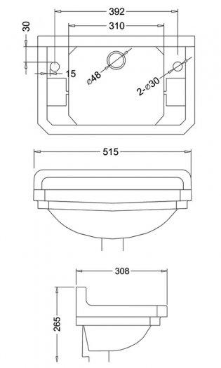 Burlington Medici Cloakroom 2 TH Basin 510mm Wide - Ivory