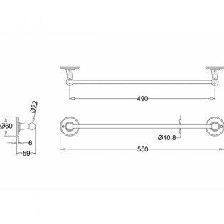 Burlington Traditional Single Towel Rail, 550mm Wide, Chrome