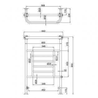 Burlington Vincent Towel Rail with Valves and Heating Element 950mm H x 640mm W - Chrome