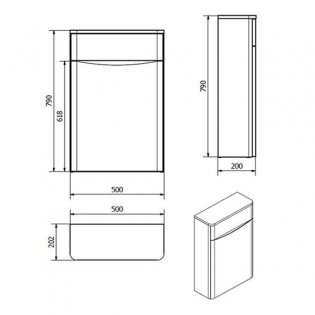 Cali Bali Back to Wall WC Unit - 500mm Wide - Gloss White
