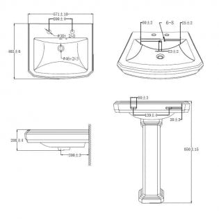 Cali Cromford Traditional Basin with Full Pedestal - 570mm Wide - 2 Tap Hole