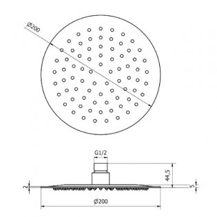 Cali Slim Profile 200mm Round Shower Head - Stainless Steel