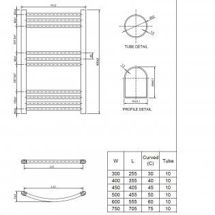 Cali Hayle Curved Heated Towel Rail 800mm H x 500mm W Chrome