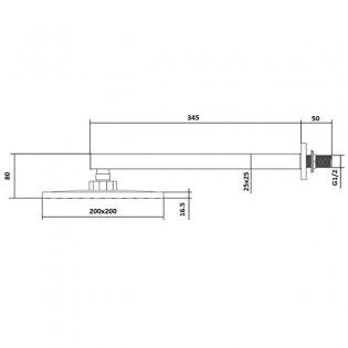 Cali Istria Wall Mounted Square Shower Arm 345mm Length - Chrome