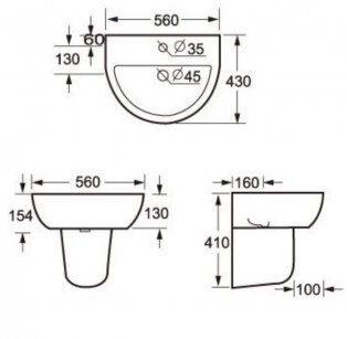 Cali Loxley Basin with Semi Pedestal 560mm Wide - 1 Tap Hole