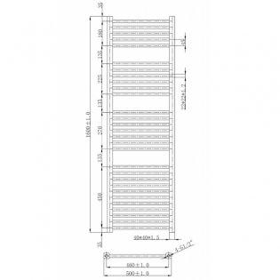 Cali Talon Straight Heated Towel Rail 1600mm H x 500mm W Chrome