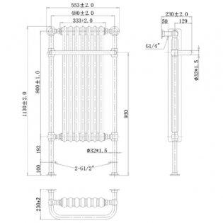 Cali Traditional Heated Radiator Towel Rail - 1130mm High x 553mm Wide - Chrome/White