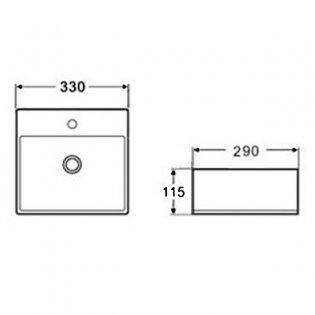 Cali Vessel Rectangular Counter Top Basin - 330mm Wide - 1 Tap Hole