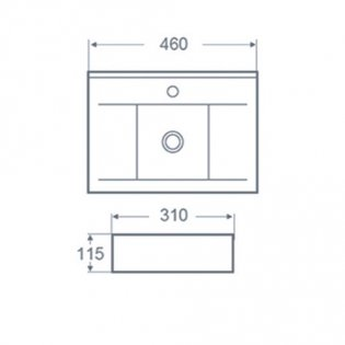 Cali Vessel Rectangular Counter Top Basin - 450mm Wide - 1 Tap Hole