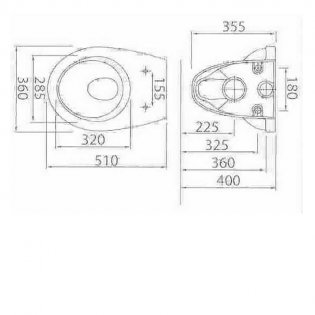 Cali Victor Wall Hung Toilet 500mm Projection - Standard Seat