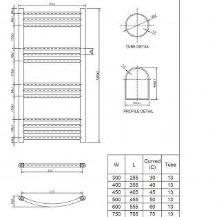Cali York Flat Heated Towel Rail 1000mm H x 400mm W Chrome