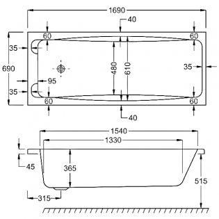 Carron Swallow Rectangular Bath with Grips 1700mm x 700mm 5mm - Acrylic