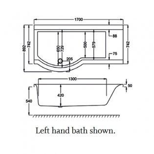 Carron Urban P-Shaped Shower Bath 1700mm x 750/900mm Right Handed - Carronite