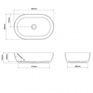 Clearwater Formoso Clear Stone Sit-On Countertop Basin 550mm Wide - Gloss White