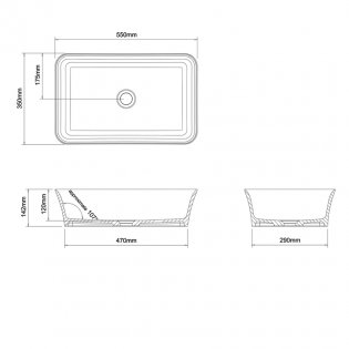 Clearwater Palermo Clear Stone Sit-On Countertop Basin 550mm Wide - 0 Tap Hole