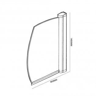 Coram Frameless Sail Bath Screen 1400mm High x 800mm Wide - 5mm Glass