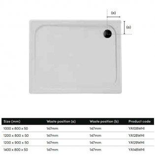 Coram Resin Rectangular Shower Tray 1000mm x 800mm - Flat Top
