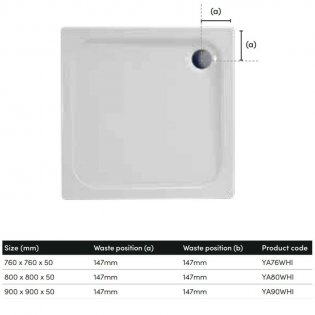 Coram Resin Square Shower Tray 760mm x 760mm - Flat Top