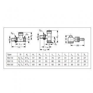 Danfoss Randall RLV-15 Lock Shield Straight Manual Radiator Valves Pair - 1/2 inch