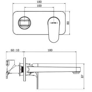 Deva Breeze Single Lever Basin Mixer Tap Wall Mounted - Matte Black