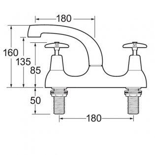 Deva Cross Handle Deck Mounted Sink Mixer 6plm Flow Regulator - Chrome