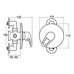 Deva Lace Manual Concealed or Exposed Shower Valve, Chrome