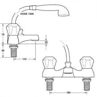 Deva Profile Deck Mounted Bath Shower Mixer Tap - Chrome