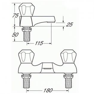 Deva Profile Deck Mounted Bath Filler Tap - Chrome