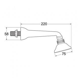 Deva Single Function Shower Head with Arm Chrome