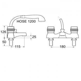 Deva Solerno Deck Mounted Bath Shower Mixer Tap - Chrome