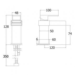 Deva Sparkle Mono Basin Mixer Tap with Press Top Waste - Chrome