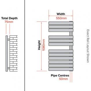 Duchy Aries Designer Heated Towel Rail 1080mm H x 550mm W Anthracite