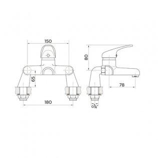 Duchy Conway Bath Filler Tap Deck Mounted - Chrome