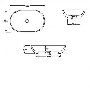 Duchy Lavender Oval Vessel Basin, 550mm Wide, 0 Tap Hole