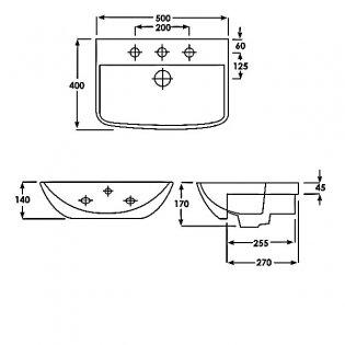 Duchy Jasmine Semi-Recessed Basin 500mm Wide 1 Tap Hole