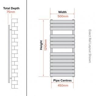 Duchy Libra Designer Heated Towel Rail 1210mm H x 500mm W Chrome