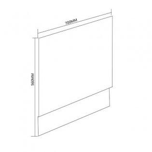 Duchy Nevada MDF Bath End Panel and Plinth 560mm H x 700mm W - White