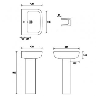 Duchy Orchid Basin & Full Pedestal 520mm Wide 1 Tap Hole